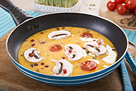 Frittata with champignon, ham cubes and tomatos in frying pan - CSTF000159