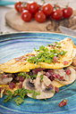 Omelette with champignon, onion and ham on plate - CSTF000145