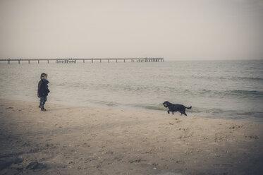 Germany, Mecklenburg-Western Pomerania, Ruegen, little boy and dog on beach in winter - MJ000961
