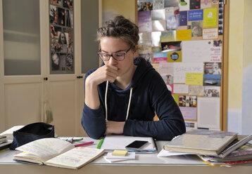 Portrait of female pupil at her desk - BTF000324