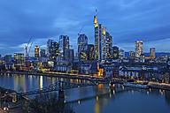 Germany, Hesse, Frankfurt am Main, Skyline in the evening - TIF000036