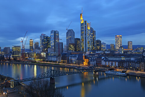 Germany, Hesse, Frankfurt am Main, Skyline in the evening - TIF000036