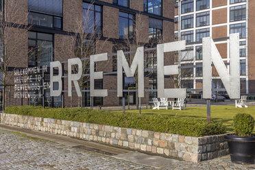 Germany, Bremen, Welcome sign in Uberseestadt - NK000072
