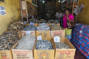 Sri Lanka, Giragama, Mangalagama, Dried fish in a street shop - AM001911