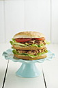 Burger with pulled pork, tomato and salad on cake plate - ECF000438