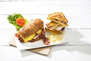 Ciabatta and sandwich with cheese, ham, bacon, tomato and salad - MAEF008156