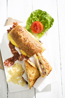Ciabatta and sandwich with cheese, ham, bacon, tomato and salad - MAEF008155