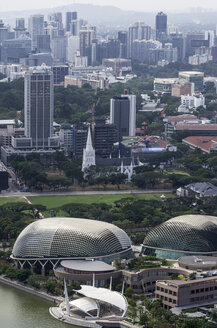 Asia, Singapore, View from Marina Bay Hotel to Downtown Core with Esplanade Theatres - THA000149