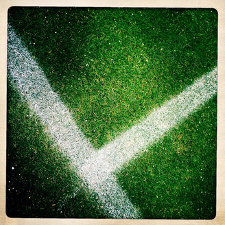 Lines on a football field, Freiburg, Baden-Wuerttemberg, Germany. - DHL000375
