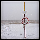 Lifebuoy on the beach of Langeoog, Lower Saxony, Germany - EVGF000414