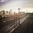 View from the Donnersbergerbruecke Hauptbahnhof, left Arnulf Park, Munich, Bavaria, Germany - GSF000830
