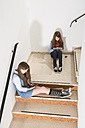 Two teenage girls sitting on stairs using smartphone and digital tablet - MAEF008276