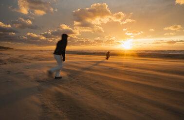 Denmark, Jutland, Lokken, mother trying to catch her child on stormy beach at sunset - JBF000072