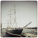 Germany, Hamburg, view of the Rickmer Rickmers on the pier in the harbor - KRP000371