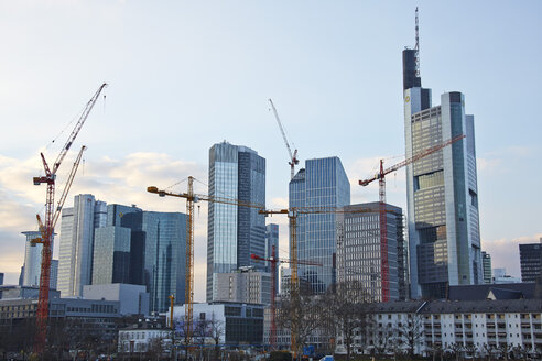 Germany, Hesse, Frankfurt, view to skyscrapers and construction cranes - AKF000342