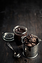 Little metal basket of chocolate ice cream and preserving jar of chocolate sauce - SBDF000657