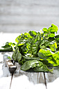 Raw Leaf spinach and knife - MAEF008273