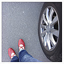 Red shoes and car tires, locomotion - EVGF000502