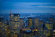 USA, New York, Manhattan, view to lighted skyline at evening twilight - JWAF000016