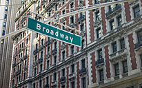 USA, New York, Manhattan, view to street sign at Broadway in front of multi-family house - JWAF000033