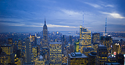 USA, New York, Manhattan, view to lighted skyline at evening twilight - JWAF000018