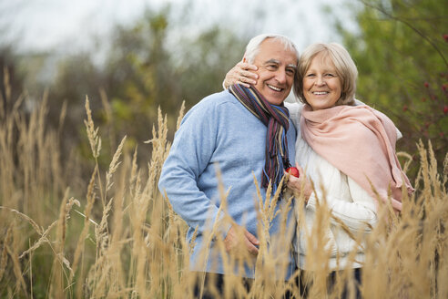 Portrait of happy senior couple having a walk - WESTF019203