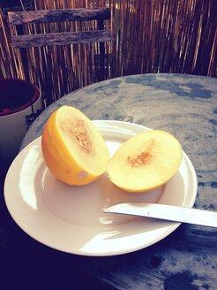 Melon (Cucumis Melo) on a balcony, Munich, Bavaria, Germany - RIMF000194
