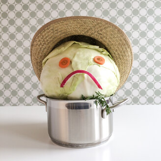 Cabbage as Smiley with hat - DRF000602