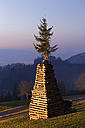 Austria, Vorarlberg, Rhine Valley, Viktorsberg, wood tower with witch for bonfire - SIEF005204