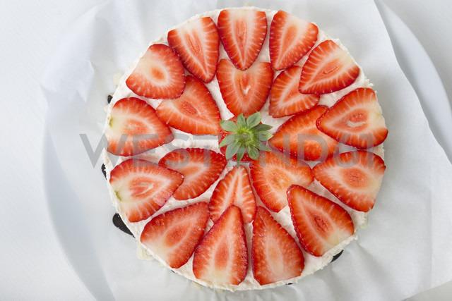 Garnished strawberry cream cheese tart, elevated view - CSTF000197
