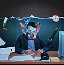 Office worker with snorkel, working under water - VTF000188