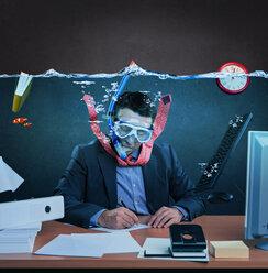 Office worker with snorkel, working under water - VTF000188