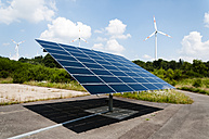 Germany, Rhineland Palantine, Morbach, Solar panel and wind turbines - HAW000006