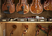 Violins and cellos in a violin maker's workshop - DIKF000090