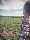 Toddler Boy, Windmill, Nature, field, Germany - ABAF001295