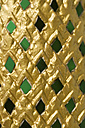 Thailand, Bangkok, green tesserae at golden ornament in royal palace Wat Phra Kaeo, detail - AS005336