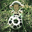 Football player with football on grass, plastic toys - SAR000438
