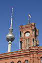 Germany, Berlin, view of Red City Hall and television tower from below - BFR000402