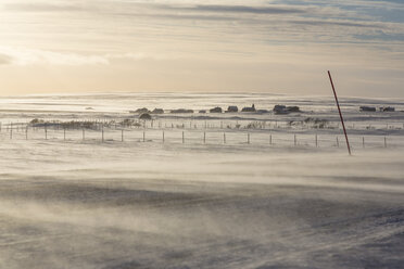 Norway, Snowdrift on road near Kiberg - SR000486