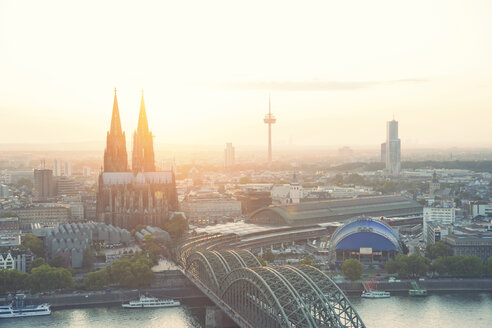 Germany, North Rhine-Westphalia, Cologne, city view with Cologne Cathedral and Colonius at evening twilight - PA000581