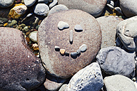 New Zealand, Marlborough Sounds, Pelorus river, smiley made of stones - WV000623