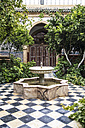 Morocco, Marrakesh-Tensift-El Haouz, garden with fountain of hotel - THA000219