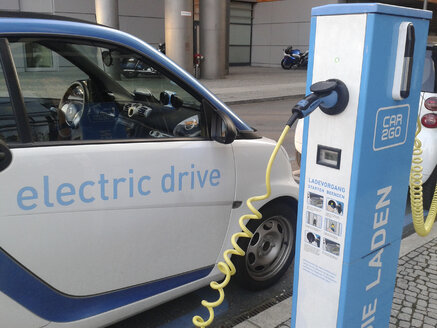 Electric gas station, electric car charging station, Potsdamer Platz, Germany, Berlin - BFR000372