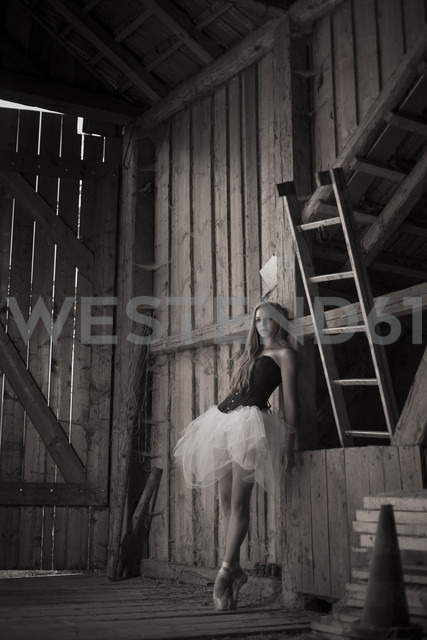 Young woman with tutu standing in barn - FCF000014 - Christina Falkenberg/Westend61