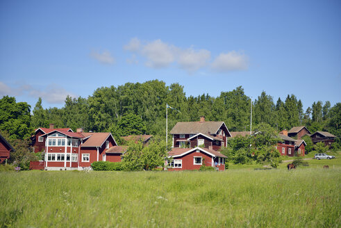 Sweden, Mora, Typical red wooden houses - BR000311