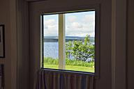 Sweden, Gaeddede, Look through window to a lake - BR000499