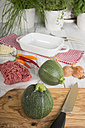 Eight ball squashes and ground beef on table, Low Carb - CSTF000248