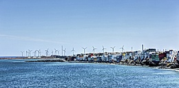 Spain, Canary Islands, Gran Canaria, Santa Lucia de Tirajana, Pozo with wind turbines - AM002122