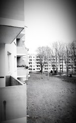 Retro style photography of the balconies of a residential neighborhood from the 50's Bremen, Germany - NKF000093