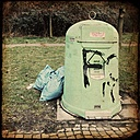 Trash can on a motorway station in Bremen, Germany - NK000095